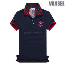 High quality 100% cotton 2 colors embroidery navy blue polo shirts for men
