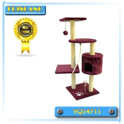 Modern Design Four-level Cat Tree Scraching Post with Toy and Sisal Rope