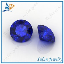 hight quality AAA round shape synthetic blue gemstone sapphire