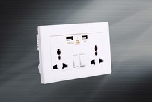 Universal component of electronic outlet 2 gangs with 2 usb