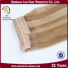 2014 ali express for white women 100% human fish wire remy hair extension
