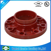 FM/UL ansi 150lbs ductile iron pipe fitting connect grooved flange adaptor
