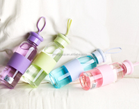 2015 wholesale New design travel borosilicate glass bottle
