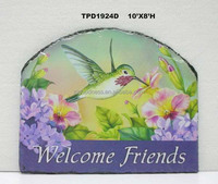 Distressed Spring Bird Wall Plaque Welcome Friends Garden Art Wholesale