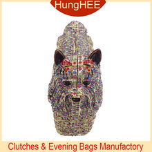 Animal Shape Dog colorful Crystal Women Clutches Evening Bags IF-HC2065