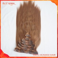 Honey Brown Color Brazilian Virgin Clip-in Human Hair 100% Unprocessed 7A Wholesale Remy Brazilian Human Hair Extension Hot Sell