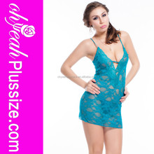 Top quality lake blue lace transparent ladies lingerie sexy tube babydoll