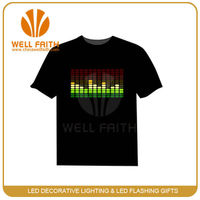 Led flashing light t-shirt Promotional shirt Novel promotional glow in the dark T-shirt