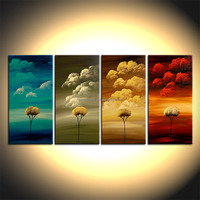 100% Handmade Modern Abstract Canvas Oil painting Beautiful Scenery Colorful Trees and Clouds Wall Art Huge Size Four Panels