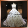 Real Sample Bridesmaid Whole Dress Appliqued Beaded Springy Waist Design Elastic Net Ruching Side Puffy Ball Gown/Wedding Dress