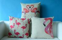 Best design 2015 cheap cotton/linen flamingo cushion cover wholesale