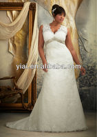 LL0201 A Line beaded fat size V neck used plus size wedding dresses with sleeves
