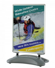 Outdoor forecourt sign swing master uv stabilized A line poster stand double sided