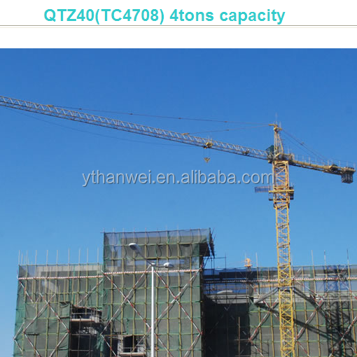 long operating life used tower crane for sale in hanwei QTZ40(TC4708) 4tons capacity