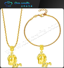Fashion thick silver plated jewelry set lion animal gold necklace and bracelet jewelry sets