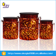Solar LED lights Red glass jar for Festive party decoration