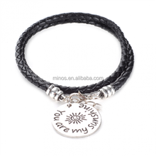 You Are My Sunshine Engraved Bracelet Charm Black Leather Bracelet