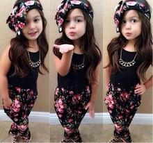 Children latest fashion dress designs Including Cute Floral Tops + Pants Two-Piece Set SV015393