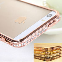 New Arrival For Iphone 5 For iphone5s Screwless Bling Crystal Diamond Bumper Metal Case