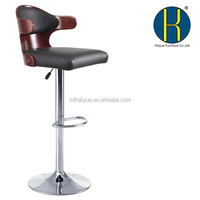 Bent plywood seat bar stool,chromed gas lift and base, height adjustable bar stool HY2022H