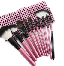 wholesale nylon hair makeup brush 10 pcs with pink cosmetic bag