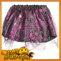AL-3003 Hot pink and black tutu halloween pageant tulle and satin tutu spider web dress