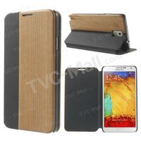 PU Leather + Real Wood Case w/ Magnetic Closure for Samsung Galaxy Note 3 N9005
