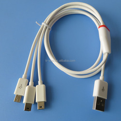 PVC 3mini usb cable all 3 ports do data sync and charge 1meter