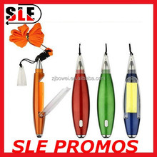 Fashion 3 in 1 Ballpen with sticky note pad cord pen