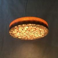 Custom Made Handcraft Circular Disk Wood Working Honeycomb LED Pendant Lamp,M9140