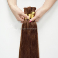 Qingdao wholesale 22'' bulk human hair extension dark brown virgin brazilian hair