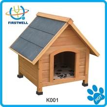 A-frame wooden dog kennel dog house