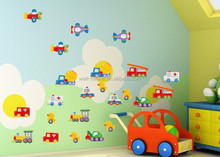 Hot sale removable cartoon special vehicle wall decal for home decoration wall sticker