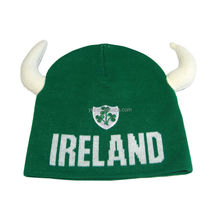 New Product St. Patrick`s Day ADULT IRELAND IRISH HAT COW HORNS FOR SALE