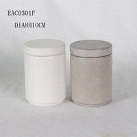 hot sale cheap cement and concrete candle jar/container round shape white candle vessel