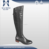 Fashional style knee high flat black leather ladies riding boots