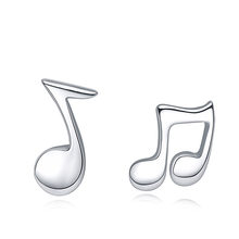Fashion Top Quality Cheap Jewelry Online Pure Silver Jewelry Stud Earrings Personality Musical Notes Earring Cheap Bulk Jewelry