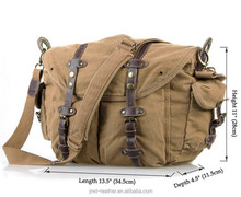 9006B Newest Casual Canvas And Leather Travel Shoulder Bag Hiking Brown Color