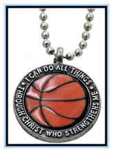 "2015 hot sale basketball necklace Custom basketball necklace ""I can do all things"" basketball necklace with bead chain"