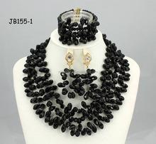 Jb155-1 nero insieme dei monili di corallo nigeriana da sposa delle signore partito indiano collana di cristallo set