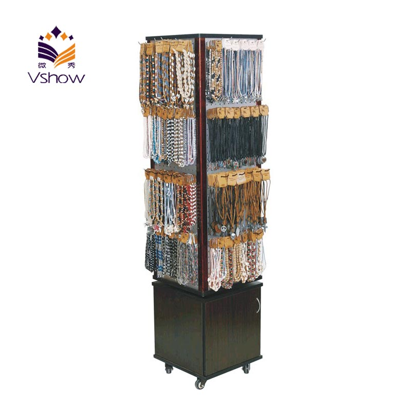 High quality rotating wooden floor display stand buy for Portable t shirt display