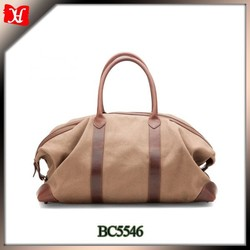 High quality canvas and leather luggage travel time bag