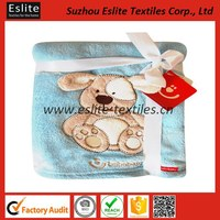 joblot wholesale appliqued animal fleece baby blanket