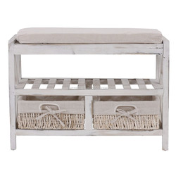 Vintage wooden bench with shelf / shabby- look wood bench with maize baskets /vintage Kommode