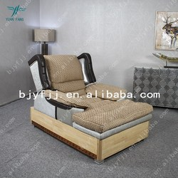 Quality fabrics electric lift sofa bed with wooden base