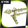KYOK golden color curtain rod,finial,bracket,ring whole set sale on low price,Foshan 10 years experience factory in curtain rod