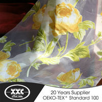 yellow flower high end printed sheer curtains