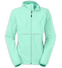 Green nylon hooded ladies sport wear wind stop jacket