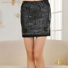 Cheap short skirt ,Fashion patching women leather skirt