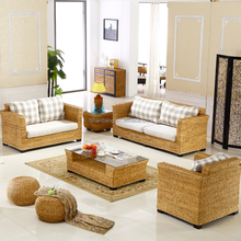 Indoor Sunroom Natural Rattan Water Hyacinth Seagrass Wicker Conservatory Furniture 5 piece 6 Seat Living Room Sofa Set